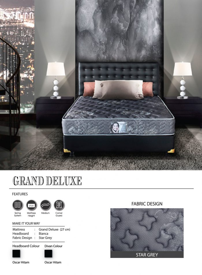 Central Spring Bed - Grand Deluxe Star Grey